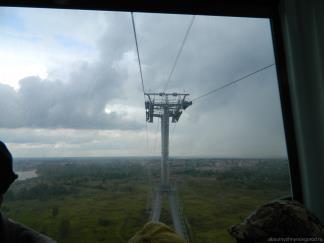 Как мы висим в самой высокой точке канатной дороги Вид от Нижнего Новгорода в борскую сторону